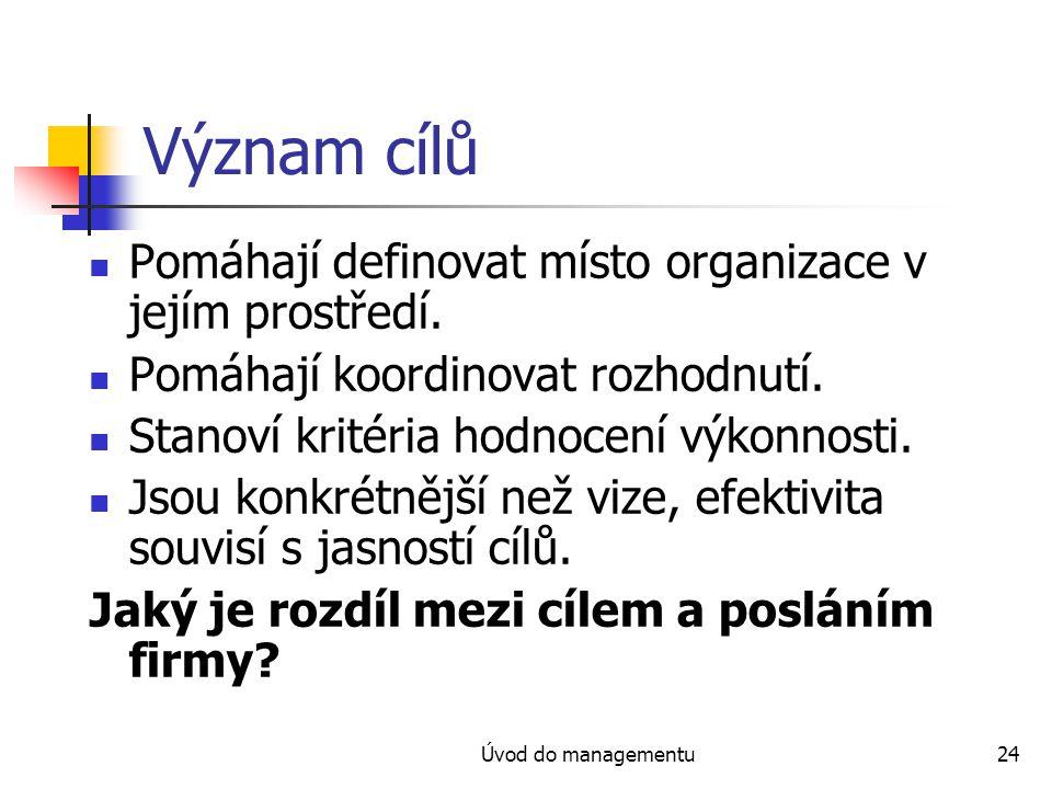 Úvod do managementu24 Význam cílů Pomáhají definovat místo organizace v jejím prostředí. Pomáhají koordinovat rozhodnutí. Stanoví kritéria hodnocení v