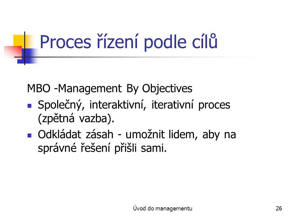 Úvod do managementu26 Proces řízení podle cílů MBO -Management By Objectives Společný, interaktivní, iterativní proces (zpětná vazba). Odkládat zásah