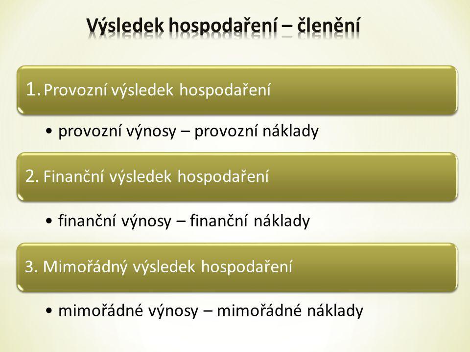 1.Provozní výsledek hospodaření provozní výnosy – provozní náklady 2.