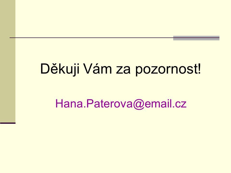 Děkuji Vám za pozornost! Hana.Paterova@email.cz