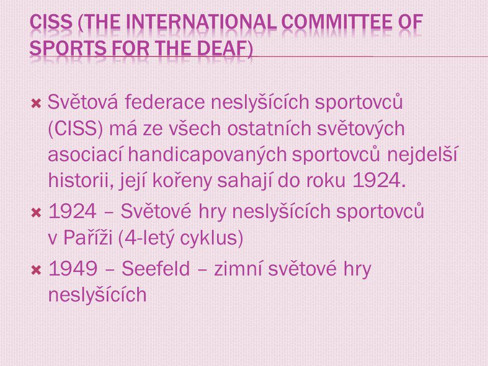 Světová federace neslyšících sportovců (CISS) má ze všech ostatních světových asociací handicapovaných sportovců nejdelší historii, její kořeny saha