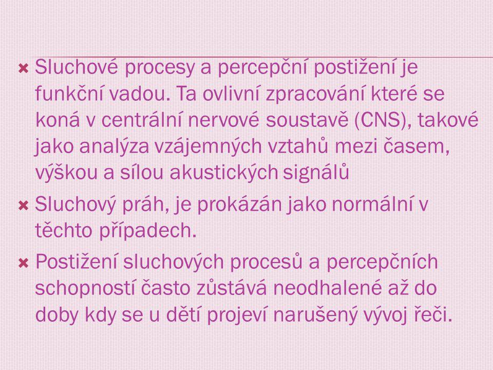  Sluchové procesy a percepční postižení je funkční vadou. Ta ovlivní zpracování které se koná v centrální nervové soustavě (CNS), takové jako analýza