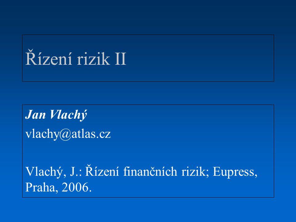 Řízení rizik II Jan Vlachý vlachy@atlas.cz Vlachý, J.: Řízení finančních rizik; Eupress, Praha, 2006.