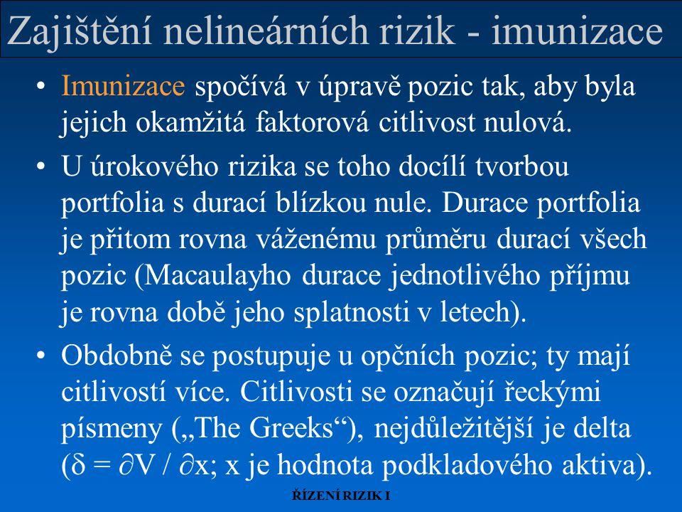 ŘÍZENÍ RIZIK I Zajištění nelineárních rizik - imunizace Imunizace spočívá v úpravě pozic tak, aby byla jejich okamžitá faktorová citlivost nulová. U ú