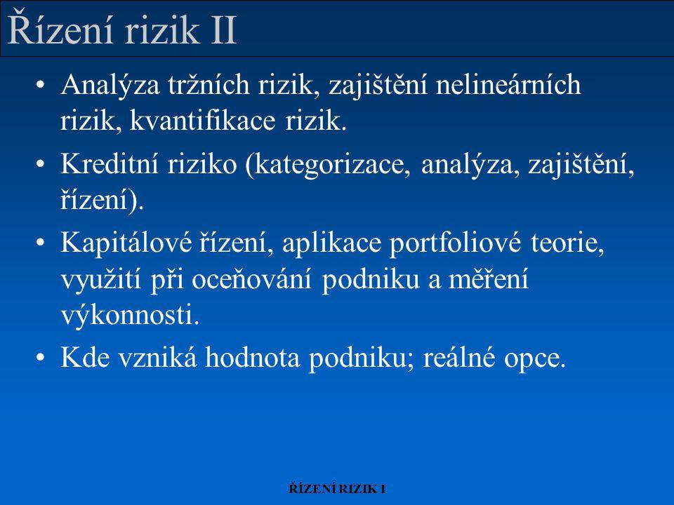 ŘÍZENÍ RIZIK I Řízení rizik II Analýza tržních rizik, zajištění nelineárních rizik, kvantifikace rizik. Kreditní riziko (kategorizace, analýza, zajišt