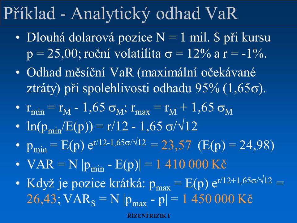 ŘÍZENÍ RIZIK I Příklad - Analytický odhad VaR Dlouhá dolarová pozice N = 1 mil.