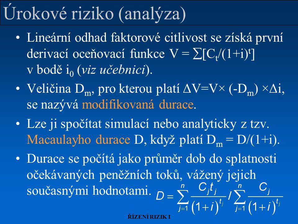 ŘÍZENÍ RIZIK I Úrokové riziko (analýza) Lineární odhad faktorové citlivost se získá první derivací oceňovací funkce V =  [C t /(1+i) t ] v bodě i 0 (viz učebnici).