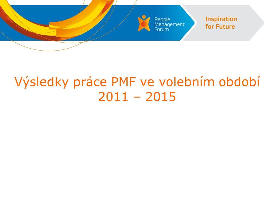 Hlavní aktivity a dosažené cíle v letech 2011-2015  2011  -přejmenování společnosti ČSRLZ na PMF a rebranding  -pořádalo se 18 akcí pro členy a 1 konference  2012  -grafická a obsahová změna časopisu HR forum  -pořádalo se 19 akcí pro členy a 1 konference  2013  -otevřen PMF Institut  -oslavy dvacátého výročí PMF s výjimečnými akcemi, např.