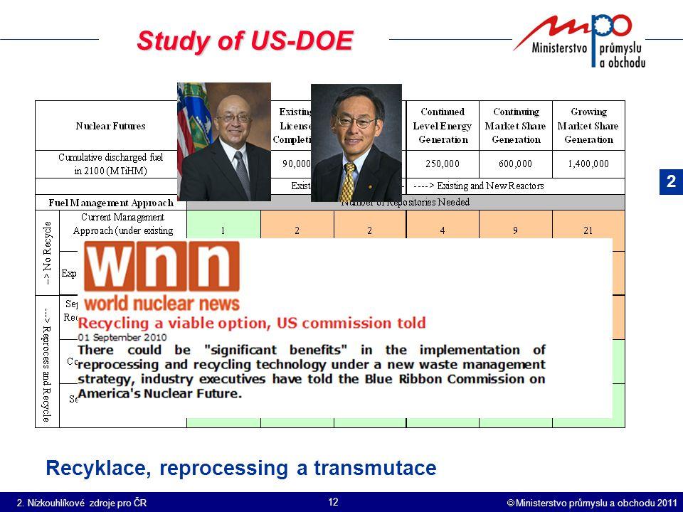  Ministerstvo průmyslu a obchodu 2011 12 Study of US-DOE Recyklace, reprocessing a transmutace 2.