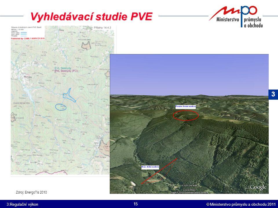  Ministerstvo průmyslu a obchodu 2011 15 Vyhledávací studie PVE Zdroj: EnergoTis 2010 3 3.Regulační výkon