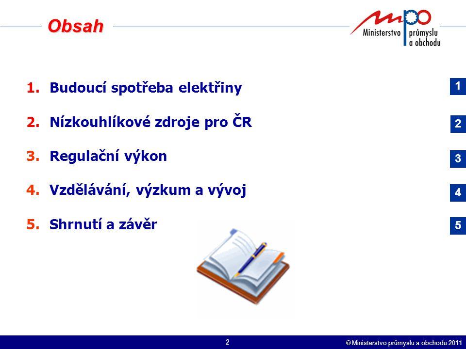  Ministerstvo průmyslu a obchodu 2011 2 Obsah 1.Budoucí spotřeba elektřiny 2.Nízkouhlíkové zdroje pro ČR 3.Regulační výkon 4.Vzdělávání, výzkum a vývoj 5.Shrnutí a závěr 1 2 3 4 5