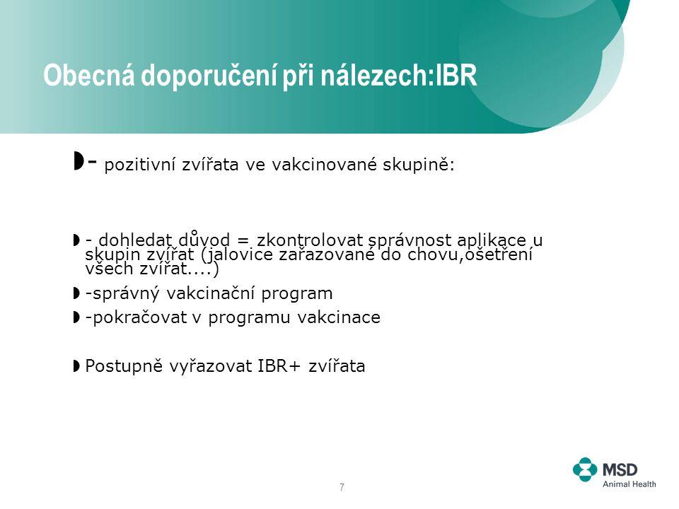 7  - pozitivní zvířata ve vakcinované skupině:  - dohledat důvod = zkontrolovat správnost aplikace u skupin zvířat (jalovice zařazované do chovu,ošetření všech zvířat....)  -správný vakcinační program  -pokračovat v programu vakcinace  Postupně vyřazovat IBR+ zvířata Obecná doporučení při nálezech:IBR