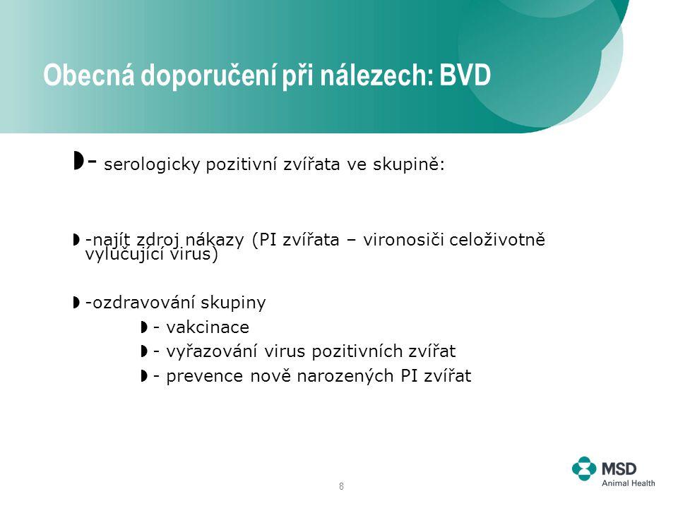 8  - serologicky pozitivní zvířata ve skupině:  -najít zdroj nákazy (PI zvířata – vironosiči celoživotně vylučující virus)  -ozdravování skupiny  - vakcinace  - vyřazování virus pozitivních zvířat  - prevence nově narozených PI zvířat Obecná doporučení při nálezech: BVD