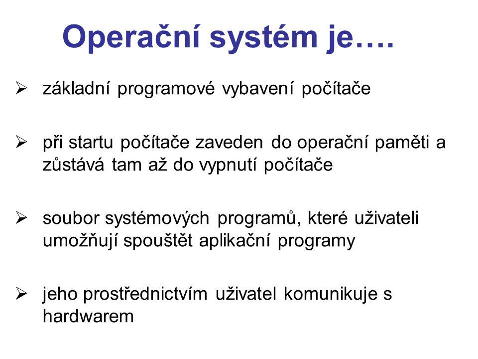Operační systém je….  základní programové vybavení počítače  při startu počítače zaveden do operační paměti a zůstává tam až do vypnutí počítače  s