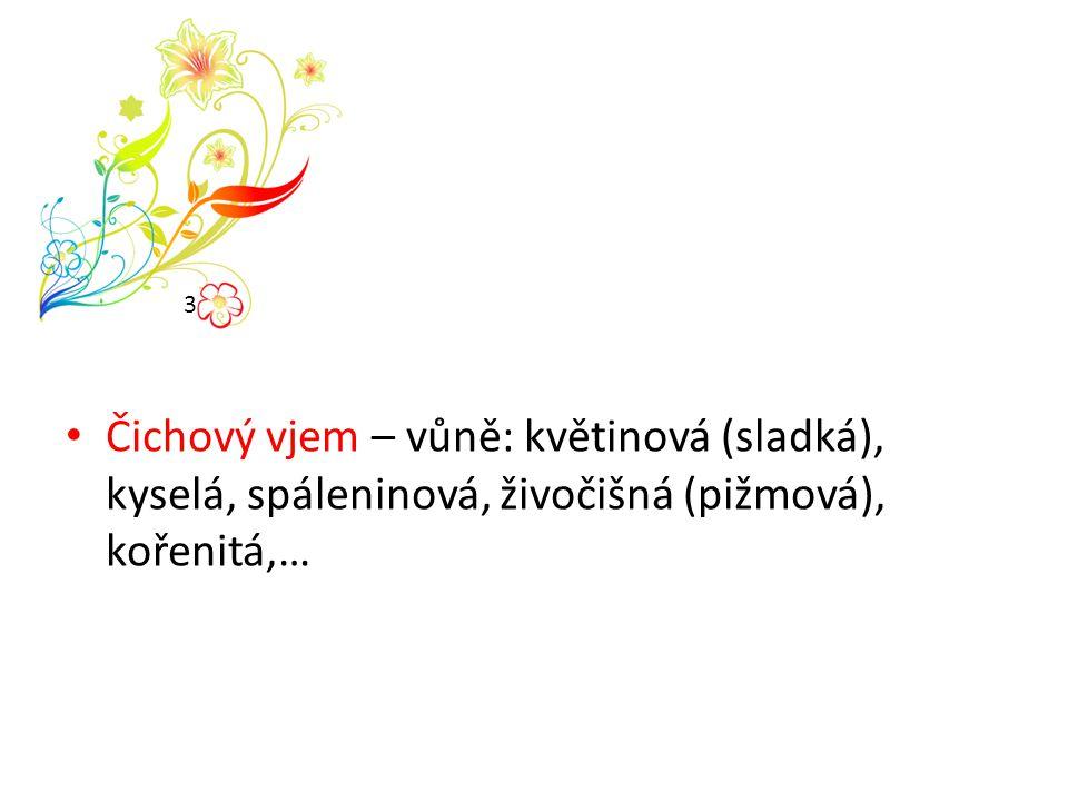 Čichový vjem – vůně: květinová (sladká), kyselá, spáleninová, živočišná (pižmová), kořenitá,… 3