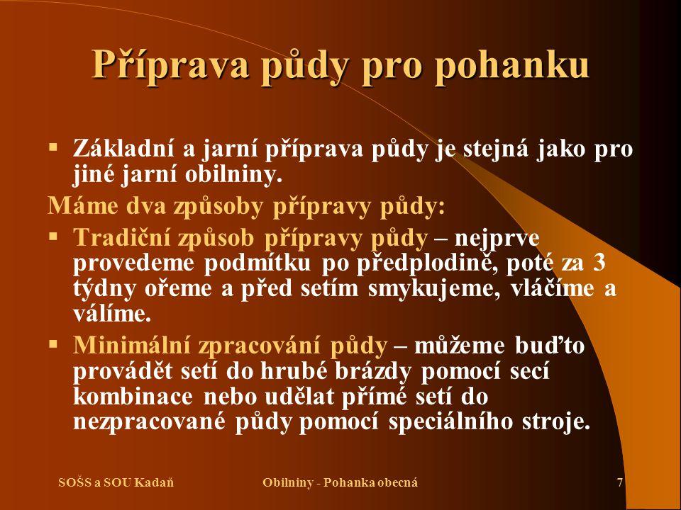 SOŠS a SOU KadaňObilniny - Pohanka obecná7 Příprava půdy pro pohanku  Základní a jarní příprava půdy je stejná jako pro jiné jarní obilniny.