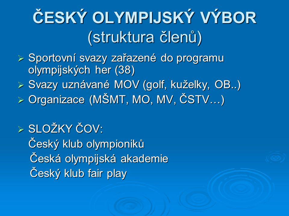 ČESKÝ OLYMPIJSKÝ VÝBOR (struktura členů)  Sportovní svazy zařazené do programu olympijských her (38)  Svazy uznávané MOV (golf, kuželky, OB..)  Org