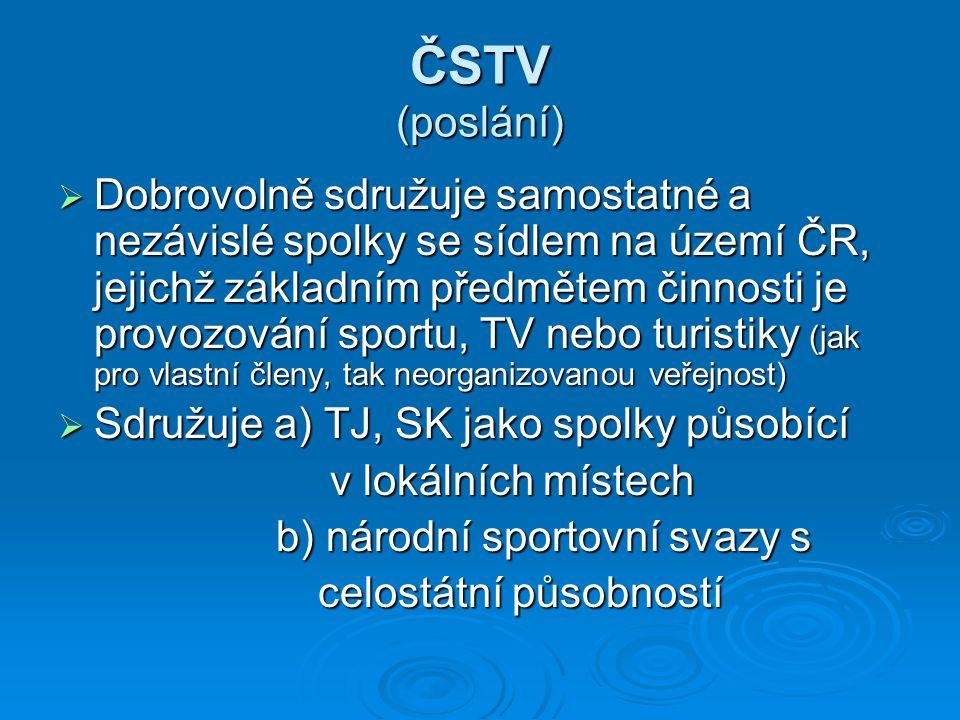 ČSTV (poslání)  Dobrovolně sdružuje samostatné a nezávislé spolky se sídlem na území ČR, jejichž základním předmětem činnosti je provozování sportu,