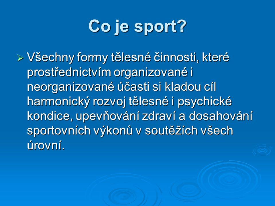 Co je sport? VVVVšechny formy tělesné činnosti, které prostřednictvím organizované i neorganizované účasti si kladou cíl harmonický rozvoj tělesné