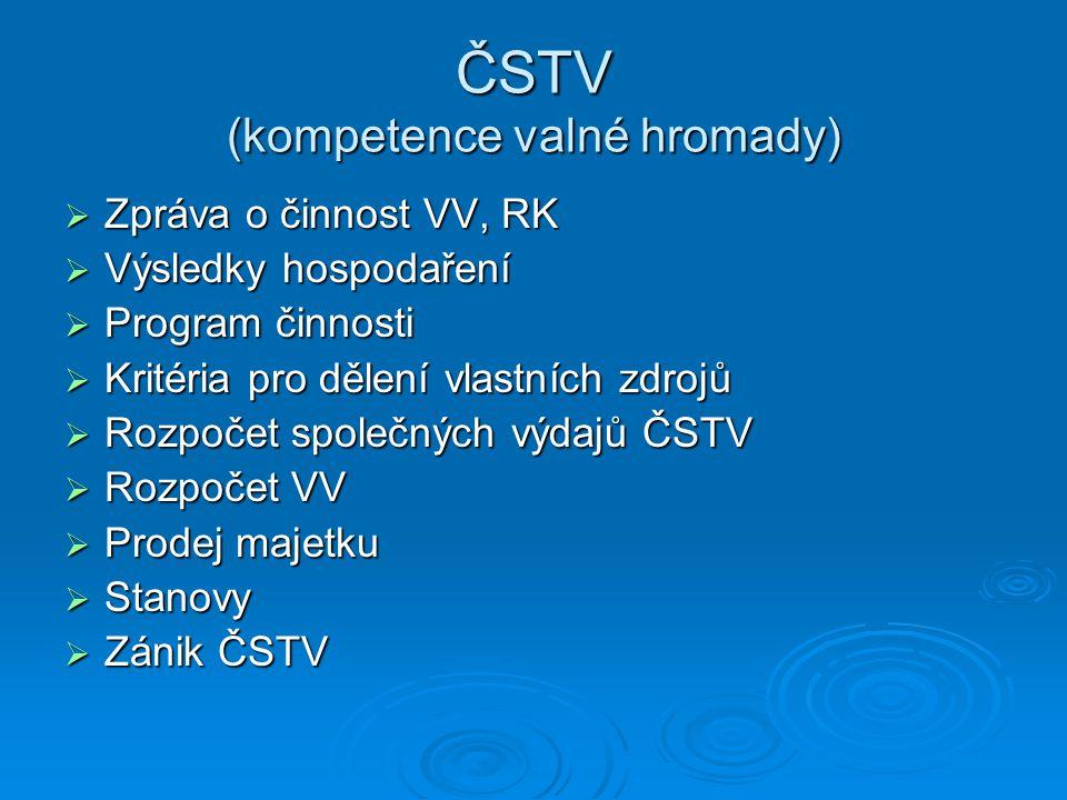 ČSTV (kompetence valné hromady)  Zpráva o činnost VV, RK  Výsledky hospodaření  Program činnosti  Kritéria pro dělení vlastních zdrojů  Rozpočet
