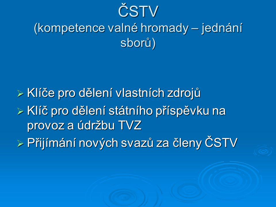 ČSTV (kompetence valné hromady – jednání sborů)  Klíče pro dělení vlastních zdrojů  Klíč pro dělení státního příspěvku na provoz a údržbu TVZ  Přij