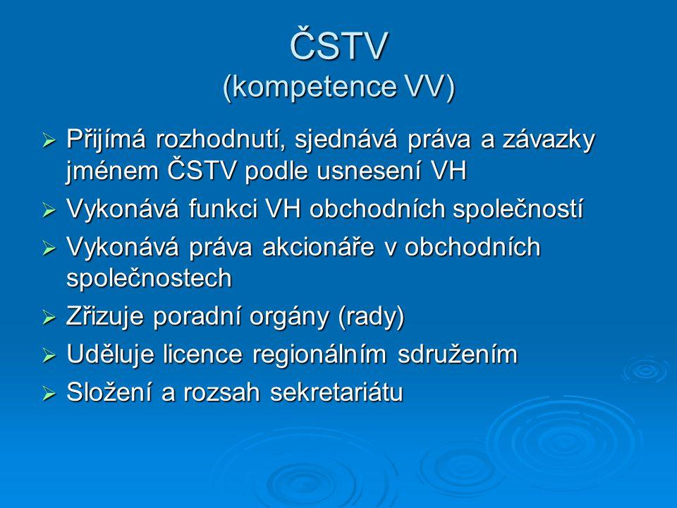 ČSTV (kompetence VV)  Přijímá rozhodnutí, sjednává práva a závazky jménem ČSTV podle usnesení VH  Vykonává funkci VH obchodních společností  Vykoná