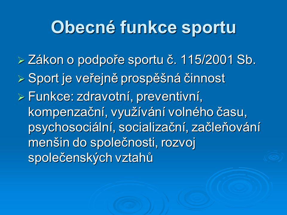 Obecné funkce sportu  Zákon o podpoře sportu č. 115/2001 Sb.  Sport je veřejně prospěšná činnost  Funkce: zdravotní, preventivní, kompenzační, využ