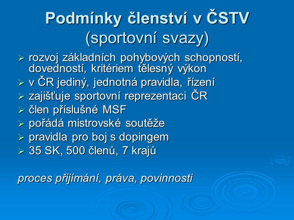 Podmínky členství v ČSTV (sportovní svazy)  rozvoj základních pohybových schopností, dovedností, kritériem tělesný výkon  v ČR jediný, jednotná prav