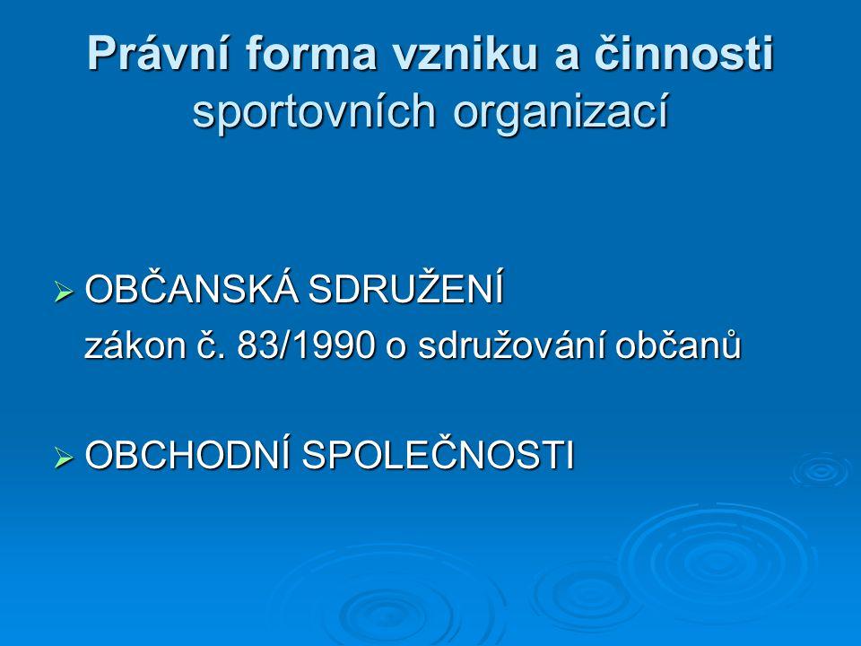 Právní forma vzniku a činnosti sportovních organizací  OBČANSKÁ SDRUŽENÍ zákon č. 83/1990 o sdružování občanů  OBCHODNÍ SPOLEČNOSTI