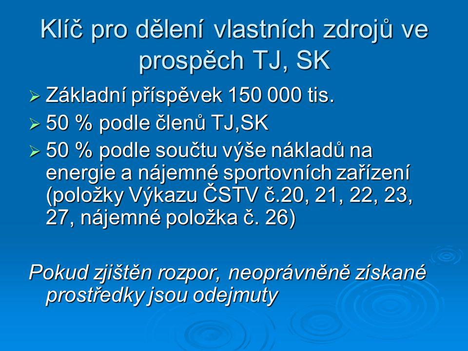 Klíč pro dělení vlastních zdrojů ve prospěch TJ, SK  Základní příspěvek 150 000 tis.  50 % podle členů TJ,SK  50 % podle součtu výše nákladů na ene