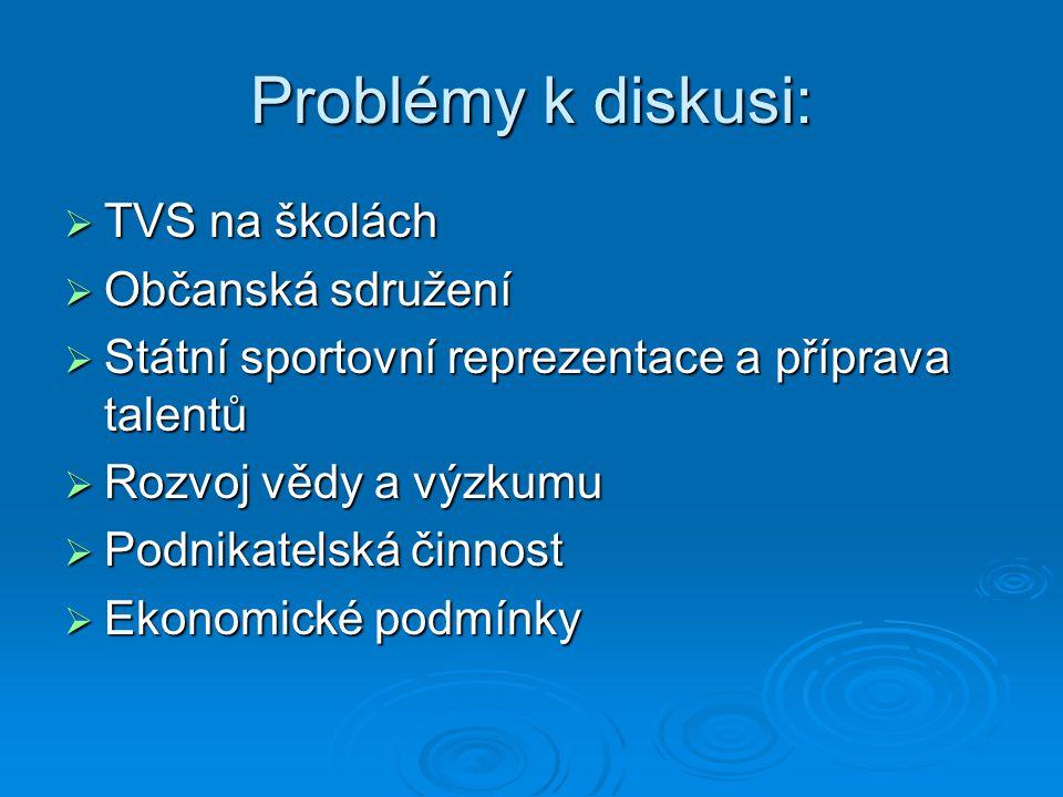 Problémy k diskusi:  TVS na školách  Občanská sdružení  Státní sportovní reprezentace a příprava talentů  Rozvoj vědy a výzkumu  Podnikatelská či