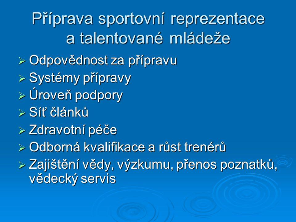 Příprava sportovní reprezentace a talentované mládeže  Odpovědnost za přípravu  Systémy přípravy  Úroveň podpory  Síť článků  Zdravotní péče  Od