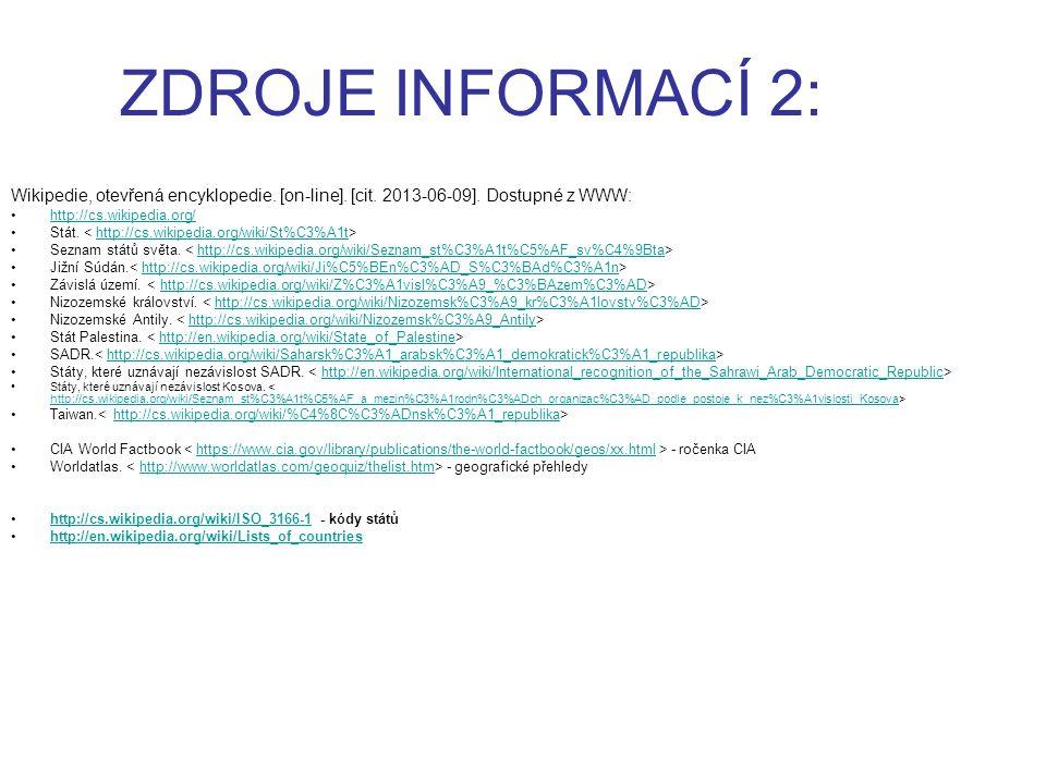 ZDROJE INFORMACÍ 2: Wikipedie, otevřená encyklopedie. [on-line]. [cit. 2013-06-09]. Dostupné z WWW: http://cs.wikipedia.org/ Stát. http://cs.wikipedia