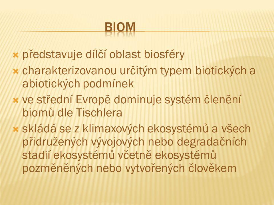  představuje dílčí oblast biosféry  charakterizovanou určitým typem biotických a abiotických podmínek  ve střední Evropě dominuje systém členění biomů dle Tischlera  skládá se z klimaxových ekosystémů a všech přidružených vývojových nebo degradačních stadií ekosystémů včetně ekosystémů pozměněných nebo vytvořených člověkem