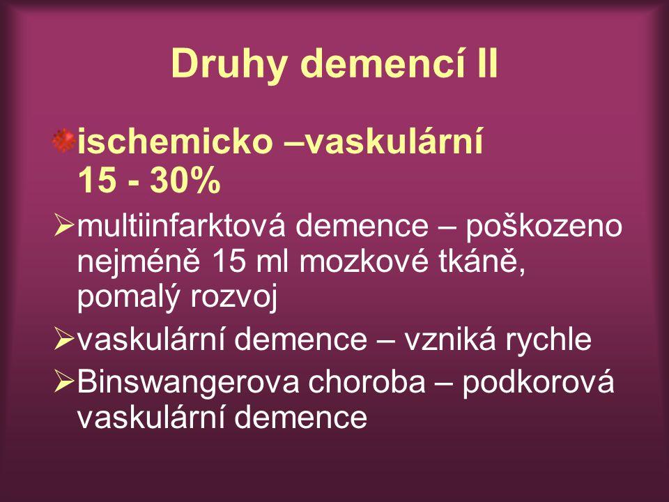 Druhy demencí II ischemicko –vaskulární 15 - 30%  multiinfarktová demence – poškozeno nejméně 15 ml mozkové tkáně, pomalý rozvoj  vaskulární demence – vzniká rychle  Binswangerova choroba – podkorová vaskulární demence