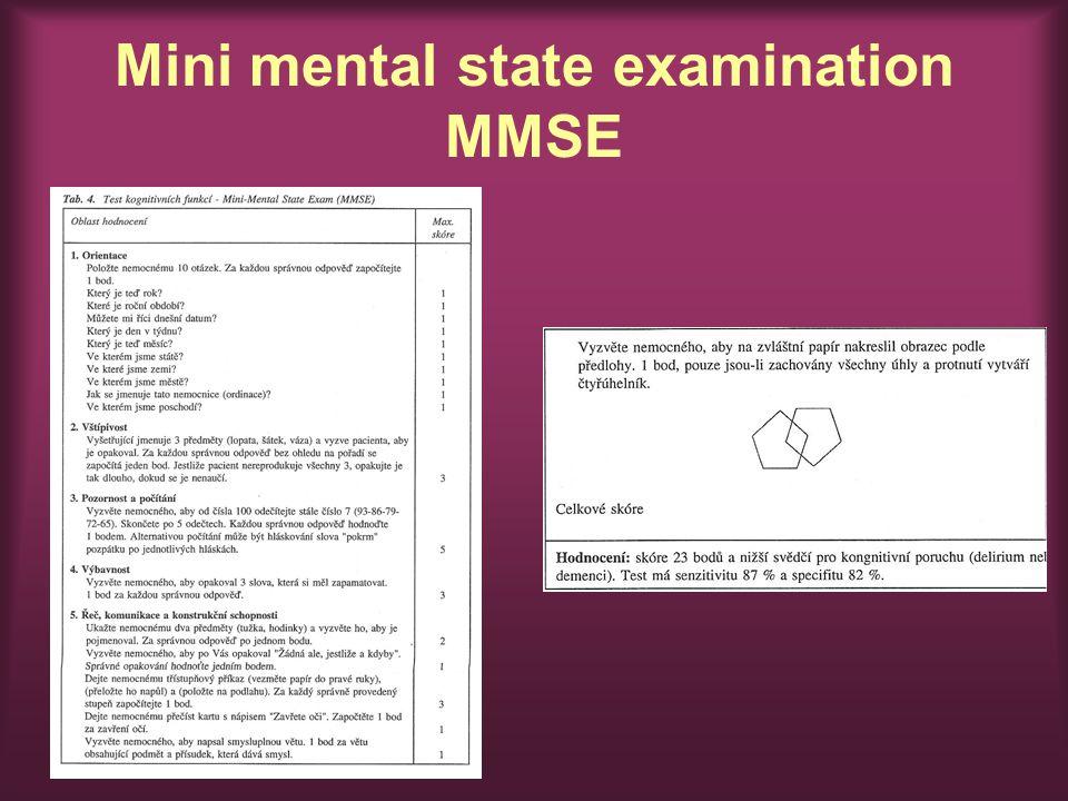 Mini mental state examination MMSE