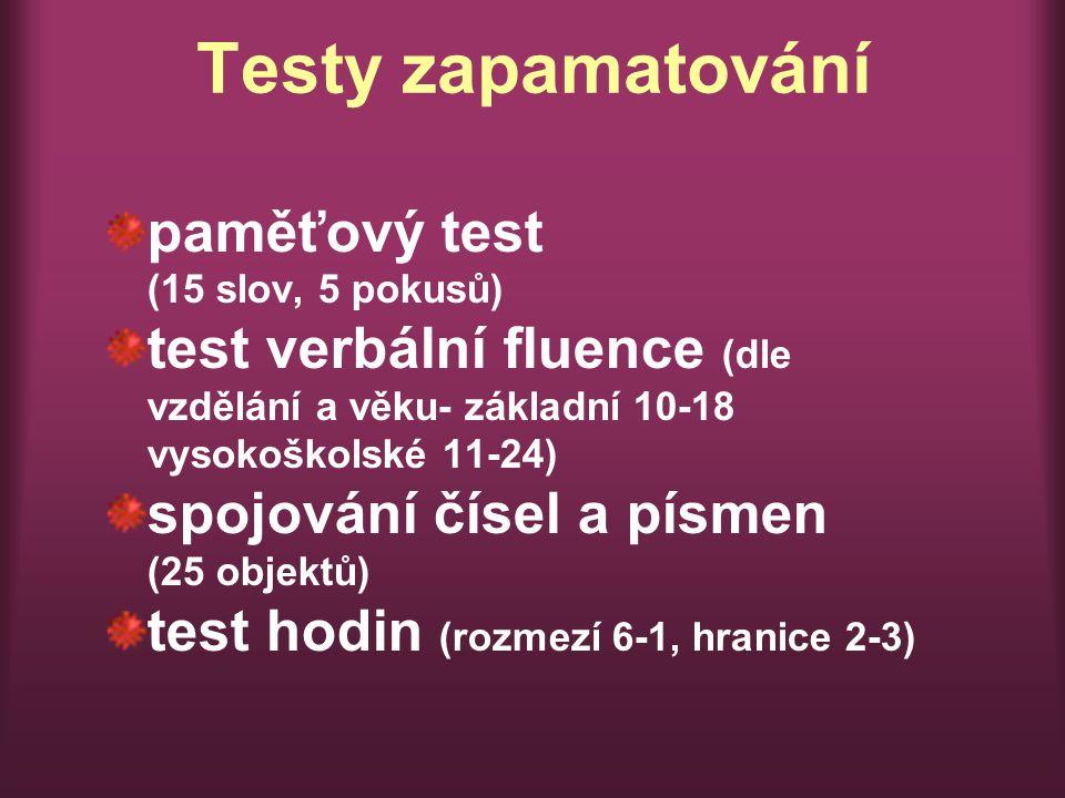 Testy zapamatování paměťový test (15 slov, 5 pokusů) test verbální fluence (dle vzdělání a věku- základní 10-18 vysokoškolské 11-24) spojování čísel a písmen (25 objektů) test hodin (rozmezí 6-1, hranice 2-3)