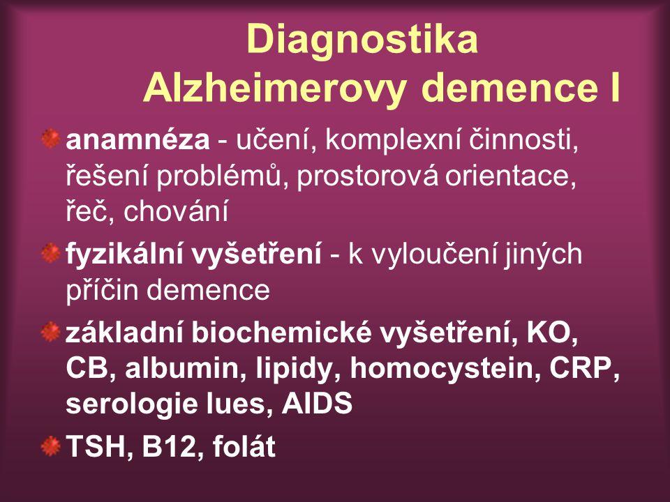 Diagnostika Alzheimerovy demence I anamnéza - učení, komplexní činnosti, řešení problémů, prostorová orientace, řeč, chování fyzikální vyšetření - k vyloučení jiných příčin demence základní biochemické vyšetření, KO, CB, albumin, lipidy, homocystein, CRP, serologie lues, AIDS TSH, B12, folát