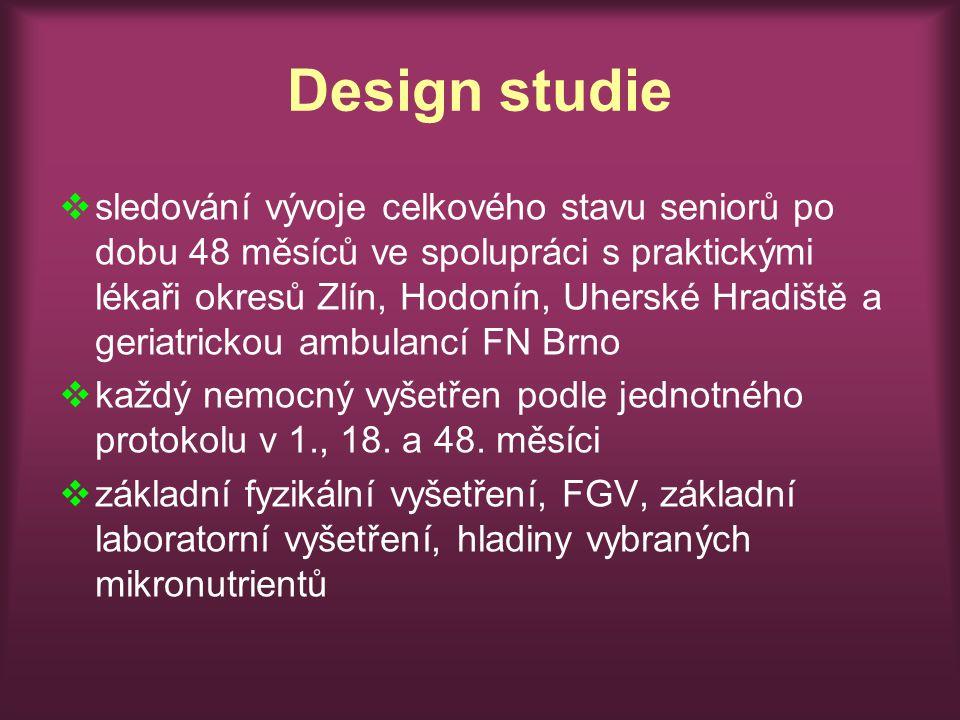 Design studie  sledování vývoje celkového stavu seniorů po dobu 48 měsíců ve spolupráci s praktickými lékaři okresů Zlín, Hodonín, Uherské Hradiště a geriatrickou ambulancí FN Brno  každý nemocný vyšetřen podle jednotného protokolu v 1., 18.