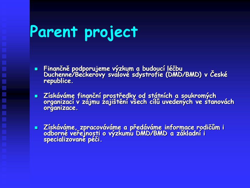 Parent project Finančně podporujeme výzkum a budoucí léčbu Duchenne/Beckerovy svalové sdystrofie (DMD/BMD) v České republice. Finančně podporujeme výz