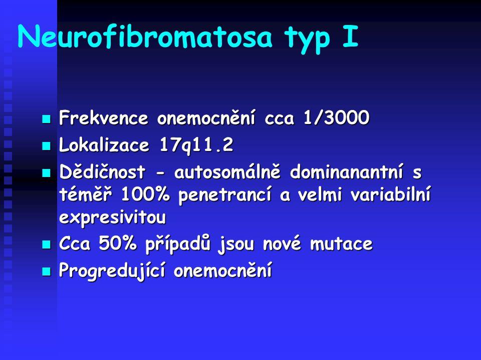 Neurofibromatosa typ I Frekvence onemocnění cca 1/3000 Frekvence onemocnění cca 1/3000 Lokalizace 17q11.2 Lokalizace 17q11.2 Dědičnost - autosomálně d