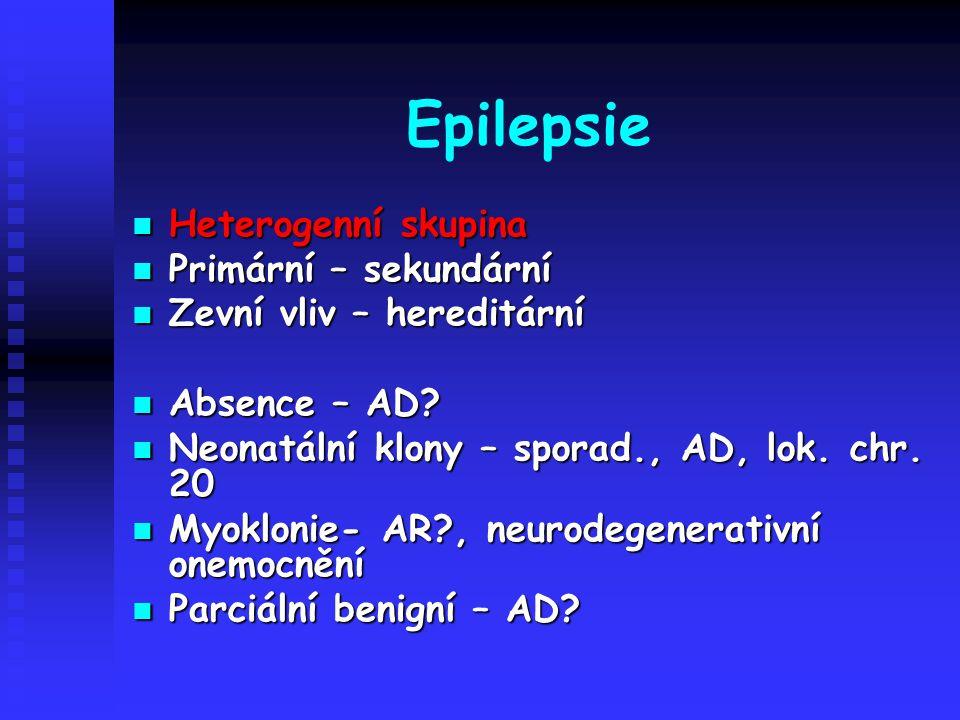 Epilepsie Heterogenní skupina Heterogenní skupina Primární – sekundární Primární – sekundární Zevní vliv – hereditární Zevní vliv – hereditární Absenc