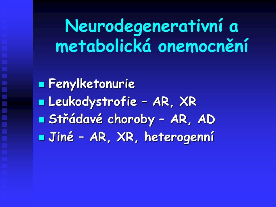 Neurodegenerativní a metabolická onemocnění Fenylketonurie Fenylketonurie Leukodystrofie – AR, XR Leukodystrofie – AR, XR Střádavé choroby – AR, AD St