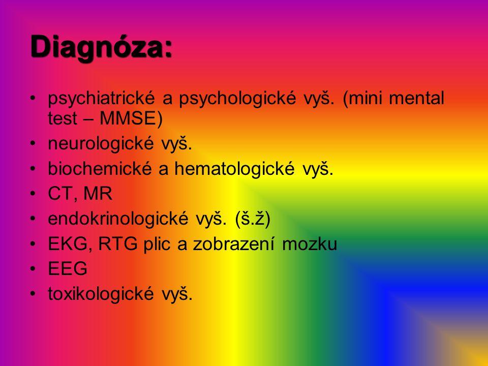 Diagnóza: psychiatrické a psychologické vyš. (mini mental test – MMSE) neurologické vyš. biochemické a hematologické vyš. CT, MR endokrinologické vyš.