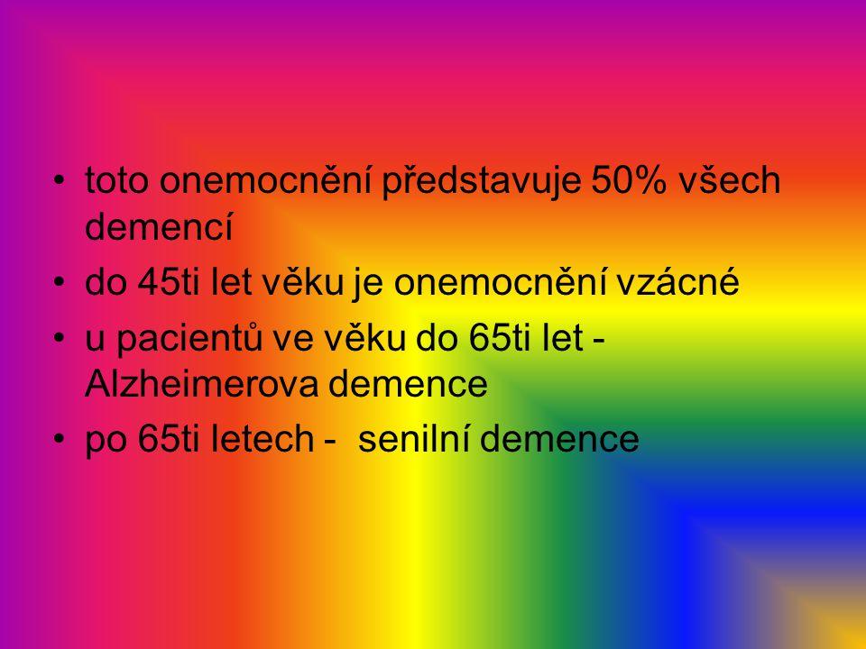 toto onemocnění představuje 50% všech demencí do 45ti let věku je onemocnění vzácné u pacientů ve věku do 65ti let - Alzheimerova demence po 65ti lete