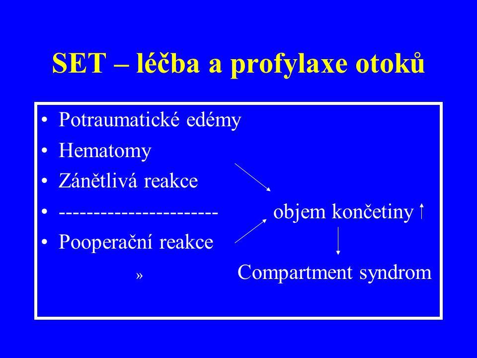 SET – léčba a profylaxe otoků Potraumatické edémy Hematomy Zánětlivá reakce ----------------------- objem končetiny Pooperační reakce » Compartment syndrom