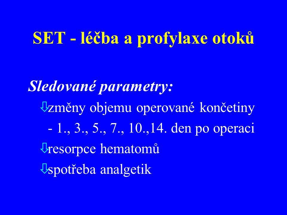 Sledované parametry: òzměny objemu operované končetiny - 1., 3., 5., 7., 10.,14.