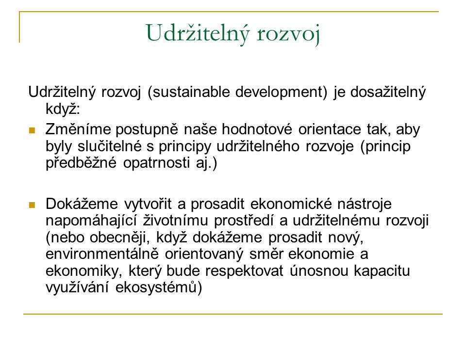 Udržitelný rozvoj, ústup, nebo rozvrat.