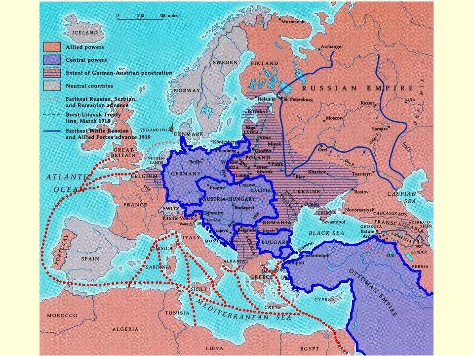 Válečný rok 1918 provést revoluci uzavřít s Německem mír 3.