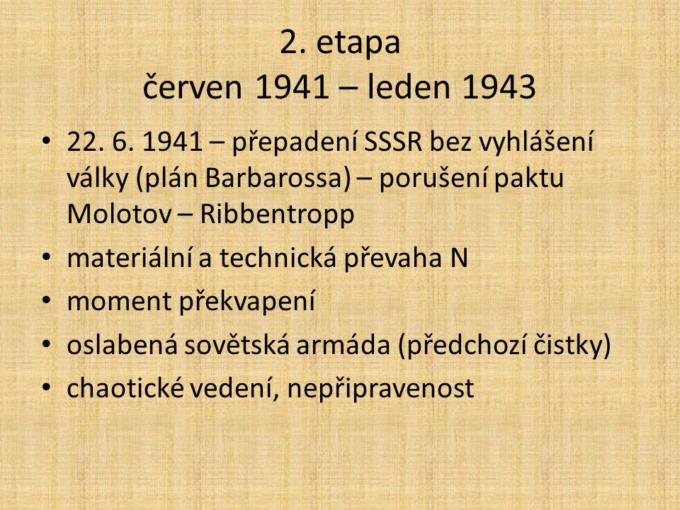 2. etapa červen 1941 – leden 1943 22. 6. 1941 – přepadení SSSR bez vyhlášení války (plán Barbarossa) – porušení paktu Molotov – Ribbentropp materiální